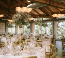 Flower decor, wedding centrepieces, gisophyla, gold chiavarina chairs